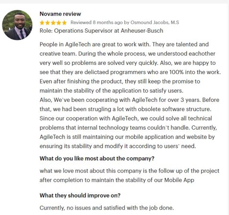 goodfirms review agiletech it outsourcing services