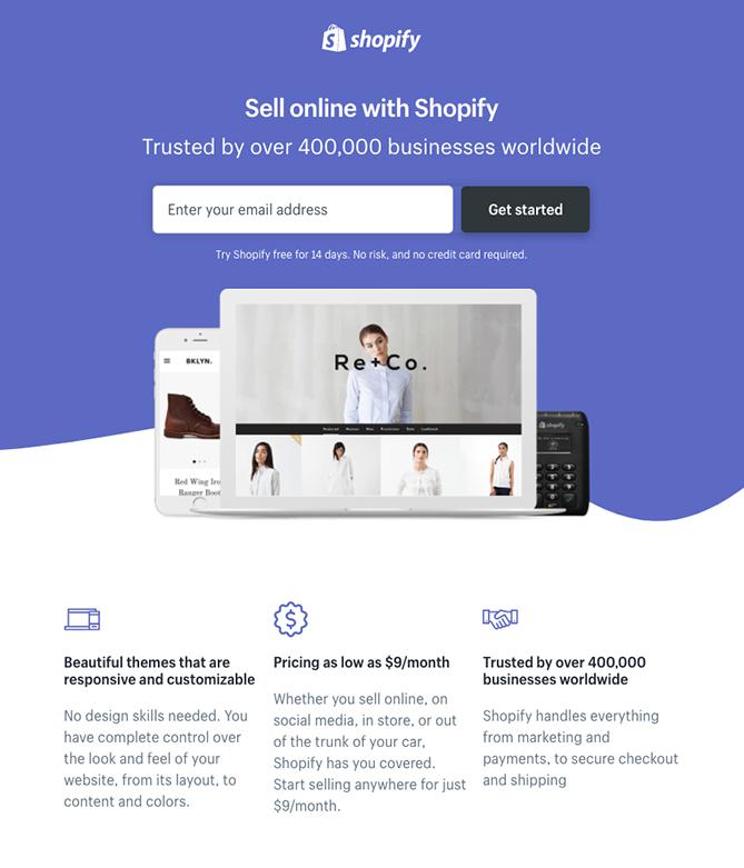 Shopify landing page cost of web agiletech