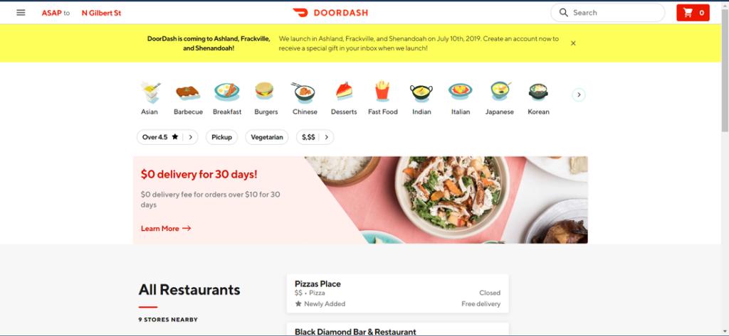 doordash order food online website