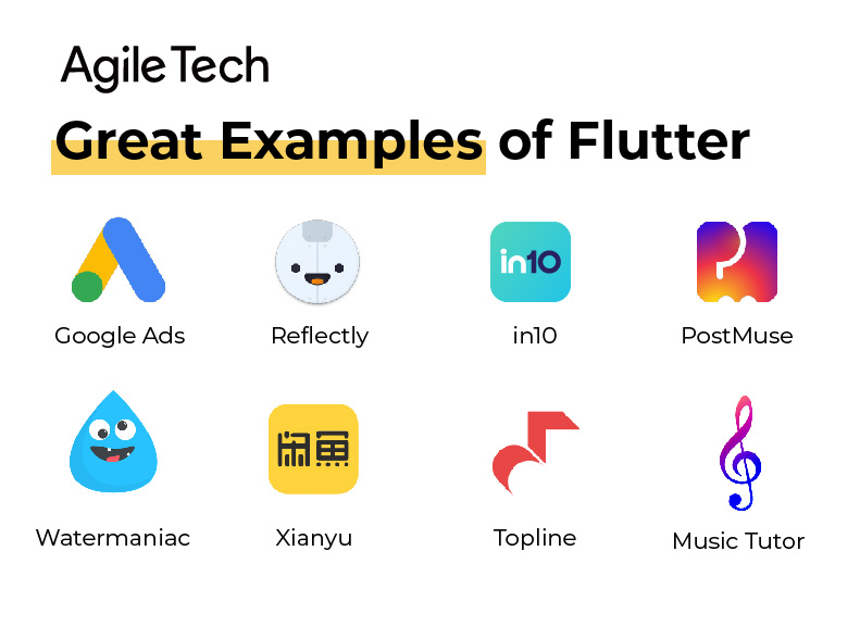 flutter, flutter examples, top app using flutter, agiletech