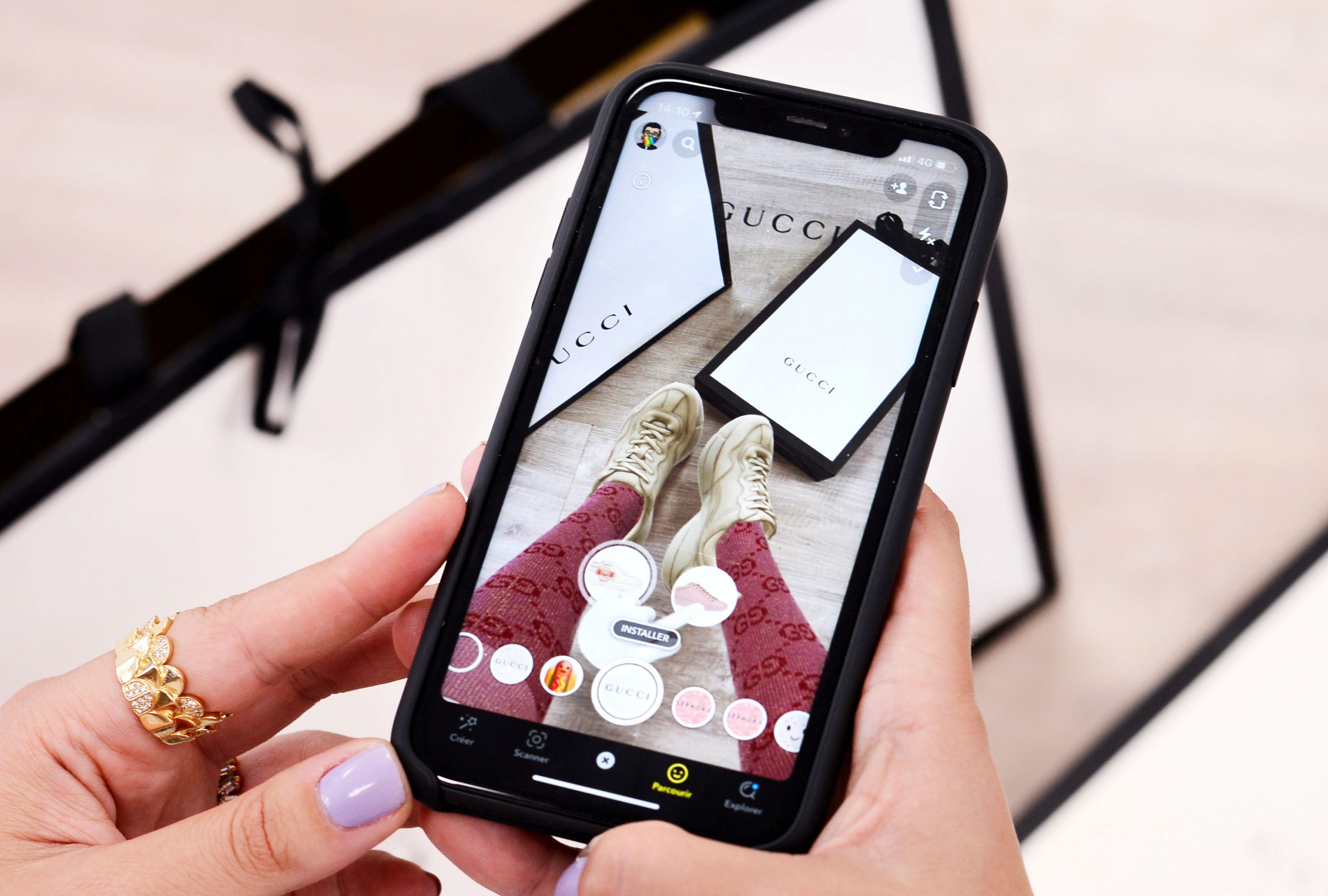gucci AR technology, gucci new try on AR app, gucci AR filter on Snapchat, web app ideas
