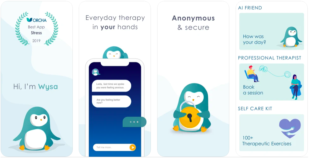 Wysa stress, depression & anxiety therapy chatbot app, top mental healthcare apps