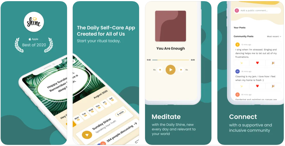 shine Calm Anxiety and Stress app, mental health app to help you in 2021