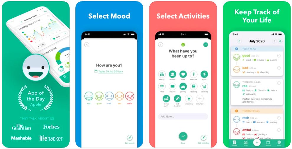 daylio, Diary, Journal, Mood Tracker app, best mental health apps